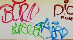 Das Foto zeigt verschiedene Graffiti an einer Hauswand.