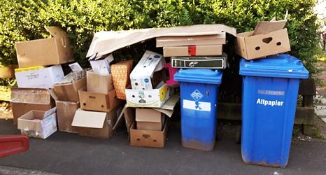 Das Foto zeigt eine Reihe aufeinandergestapelter Kartons neben Altpapiertonnen.©DBM