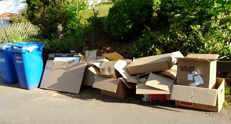 Das Foto zeigt eine ungeordnete Reihe aufeinander gelegter Kartons neben Altpapiertonnen.©DBM