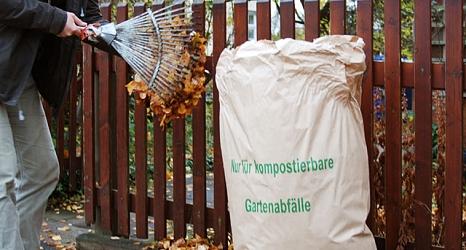 Das Foto zeigt einen fast vollen Laubsack, der mit Hilfe eines Laubrechens befüllt wird.©Universitätsstadt Marburg