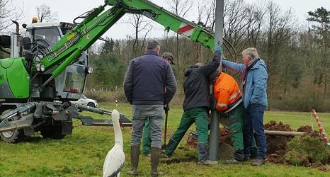 Nach dem Hochziehen muss der Mast gerade gestellt und mit Beton fixiert werden. Dafür braucht es viele Hände.©DBM, Sonja Stender